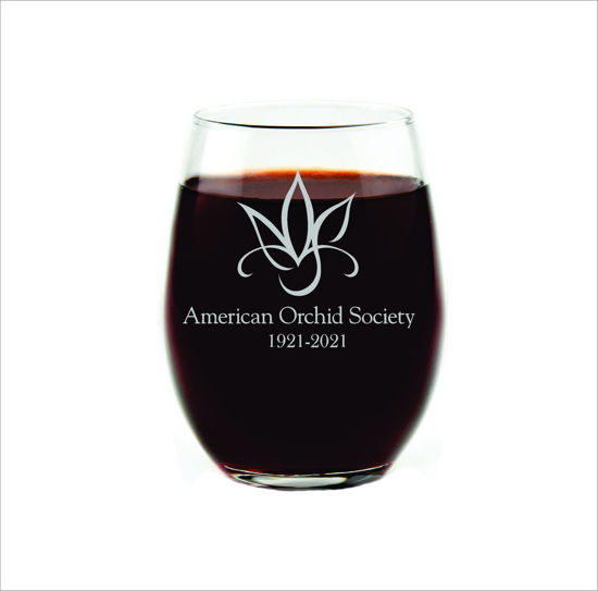 Amercian Orchid Society Enengraved Stemless Wine